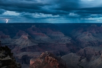 Lightning strikes down in the distance of the South Rim of the Grand Canyon Arizona  Photo by Pete McBride