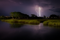 Lightning strikes over Murrells Inlet SC