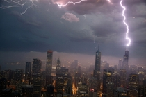 Lightning strikes the Willis Tower formerly Sears Tower in Chicago Illinois Scott Olson