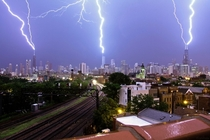 Lightning striking simultaneously on Chicagos three tallest buildings