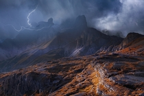 Lightning striking the Dolomiten Alps Italy by Franz Schumacher