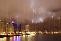 Lights along the fire line memorialize the bombing of Rotterdam  May
