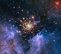Like a fireworks display a young glittering collection of stars looks like an aerial burst The nebula located  light-years away in the constellation Carina contains a central cluster of huge hot stars called NGC