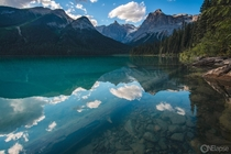Like a mirror yet so clear you can see the bottom of Emerald Lake in BC Canada