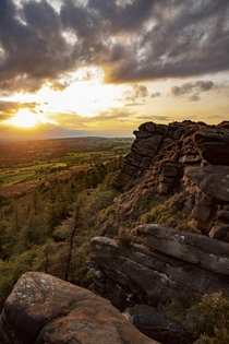 Limestone outcrop the roaches overlooking the Cheshire plain