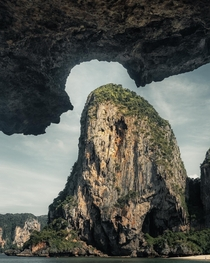 Limestone rock formations looking like puzzle pieces in Krabi Thailand