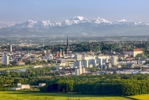 Linz Austria with the alps in the background