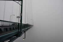 Lions Gate Bridge in the fog