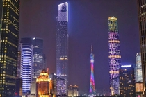 Lit-up Supertall Structures in Guangzhou China