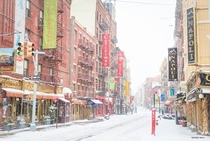 Little Italy in New York city after snowstorm