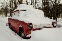 Little red Ford Anglia Finnish Lapland