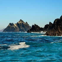 Little Skellig from the northern shoreline of Skellig Michael in Ireland