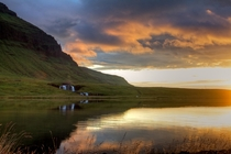 Little waterfall and sunset near Kirkjufell Iceland