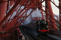 LNER Class A  locomotive Flying Scotsman crossing the Forth Rail Bridge May