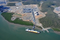 LNG liquefaction plant and marine terminal on Curtis Island Queensland Australia