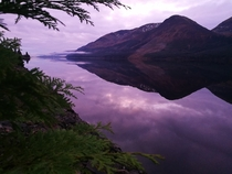 Loch Lochy weirdly pink sky scaled but otherwise straight off the camera