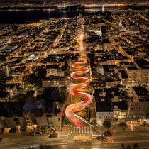 Lombard street at night Like a giant red snake