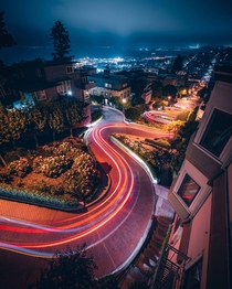 Lombard Street at night San Francisco Ca