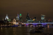 London skyline by night from Waterloo Bridge