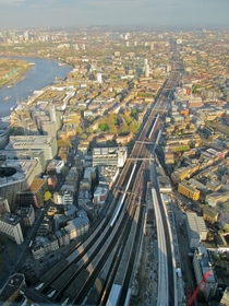 Londons rail yard from  in the sky The Shard