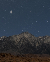 Lone Pine Peak at night during a Waning Gibbous moon phase