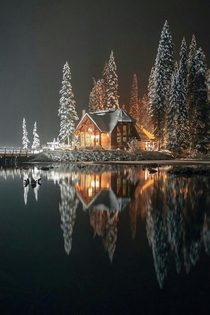 Lonely home at Emerald Lake in British Columbia Canada