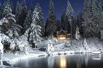 Lonely winter cabin in Whatcom County Washington