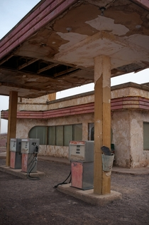 Long-abandoned art deco gas station
