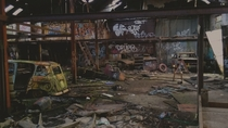 Long abandoned car workshop scheduled for demolition Bristol UK