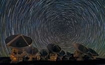 Long exposure image of the Atacama Large Millimeter Array