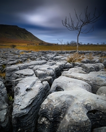 Long exposure of a moody morning at Southerscales Scars Yorkshire Dales England