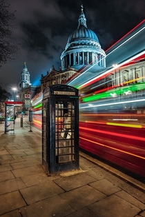 Long Exposure of Londons St Pauls Cathedral on a winters night Photo by Gene Krasko