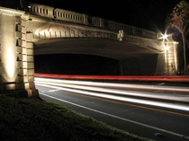 Long Exposure photo of Merritt Parkway- New Canaan Connecticut