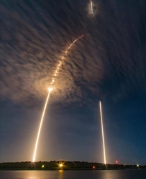 Long exposure shot of spaceX falcon  launch and landing
