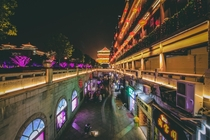 Long exposure shot of the street in Xian that brings from the Bell Tower to the Drum Tower China  IG thenaphotography