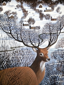 Long Winter in Antler Hills acrylic on canvas artwork