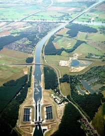 Longest navigable aqueduct in the world Magdeburg Water Bridge Magdeburg Germany