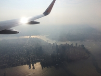 Looked out as I was flying over Manhattan in the morning