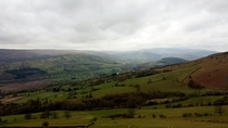 Looking across the Brecon Beacons from the Table Mountain summit South Wales Taken on a phone