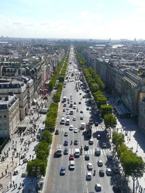 Looking along the Champs Elysees from the top of the Arc de Triomphe
