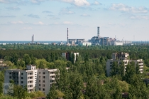 Looking at the Chernobyl Power Plant from Pripyat -
