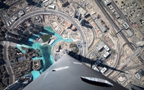 Looking down at Dubai from the very top of the worlds tallest building the Burj Khalifa