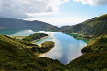 Looking down at Lagoa do Fogo Fire Lake on the island of Sao Miguel Azores