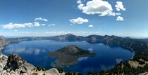 Looking down at the deepest lake in the US from Watchmans Peak Crater Lake OR