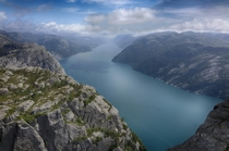Looking down Lysefjord Pulpit Rock Norway Preikestolen Norge   CC BY-NC-ND