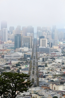 Looking down Market Street from Twin Peaks San Francisco