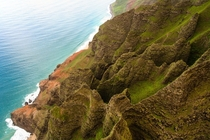 Looking down on the knife-edge ridges of the Napali coastline