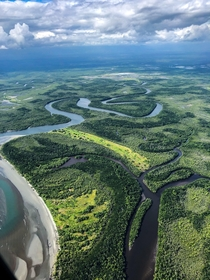 Looking down on the tangled rivers of Gulf Province Papua New Guinea
