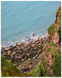 Looking down onto the wave beaten shorelines of St Bees Head Cumbria UK x
