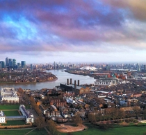 Looking down the River Thames from Greenwich London
